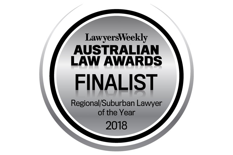 LawyersWeekly Australian Law Awards Finalist Regional Suburban Lawyer of the Year